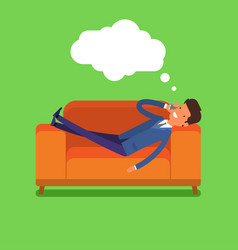 Businessman lying on the couch vector
