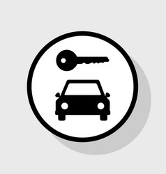 Car key simplistic sign flat black icon vector