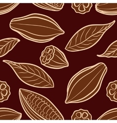 Cocoa beans engraved seamless pattern vector
