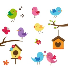 Cute birds design elements set vector