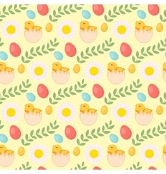Cute Easter seamless pattern with chick eggs and vector image vector image