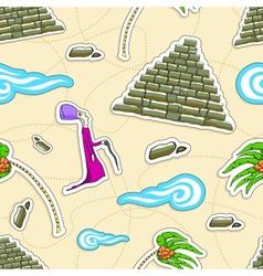 Egypt seamless pattern Pharaoh pyramid palm vector image vector image