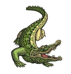 Ethnic ornamented alligator or crocodile hand vector