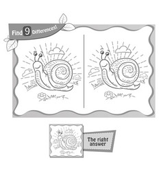 find 9 differences game snail vector image vector image