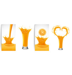 Fresh orange juice and splash creating heart vector