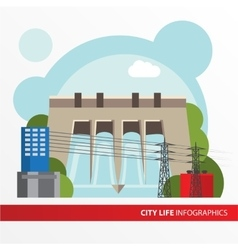 Hydroelectric power station in a flat style vector