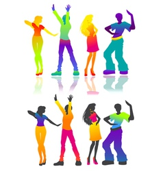 Isolated dancing men and women vector image