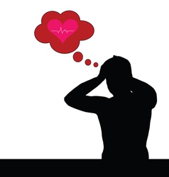 man think about heartbeat red vector image