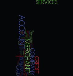 Merchant account services text background word vector
