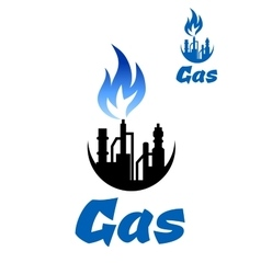 Natural gas extraction factory icon vector