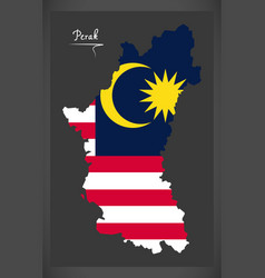 perak malaysia map with malaysian national flag vector image