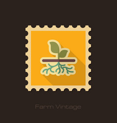 Plant with roots retro flat stamp garden vector