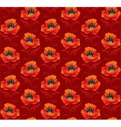 Seamless background with poppies vector image vector image