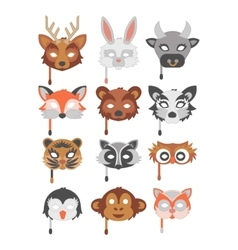 Set of cartoon animals party masks vector