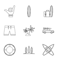 Swimming on surfboard icons set outline style vector