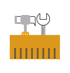 tools box with hammer and wrench vector image