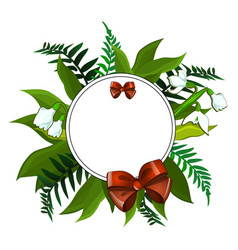 Wreath of snowdrops and different green leaves vector