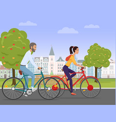 young couple riding a sport bikes on a park road vector image vector image