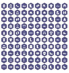 100 rags icons hexagon purple vector