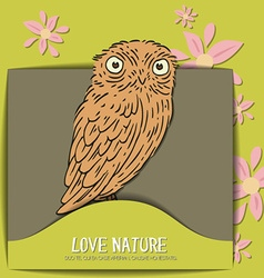 With nature and owl vector