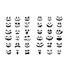 Scary halloween 36 pumpkin faces icons set vector