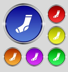 socks icon sign Round symbol on bright colourful vector image