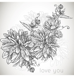 Floral monochrome background vector