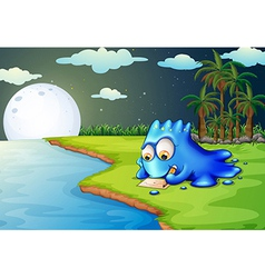 A blue monster writing a letter at the riverbank vector