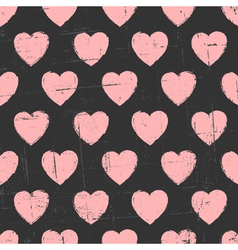 Chalkboard style seamless hearts vintage pattern vector