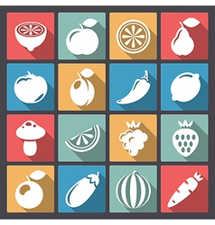 Vegetables icons in flat design vector