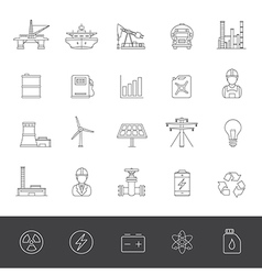 Line icons industry and energy vector