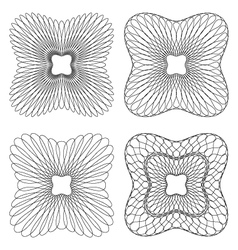 set of 4 rounded square guilloche pattern vector image