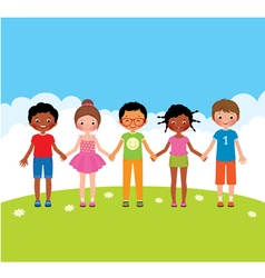 Group of happy children boys and girls vector image