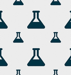 Conical Flask icon sign Seamless pattern with vector image