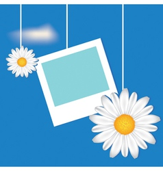 Card with frame and camomile vector