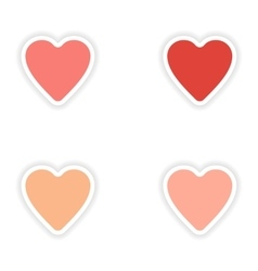 Assembly realistic sticker design on paper hearts vector