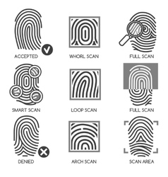 Fingerprint identification icons vector