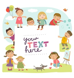 Background with cute kids vector