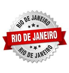Rio de janeiro round silver badge with red ribbon vector