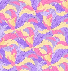 Hand drawn seamless pattern with coloured feathers vector