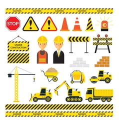 Construction objects set vector