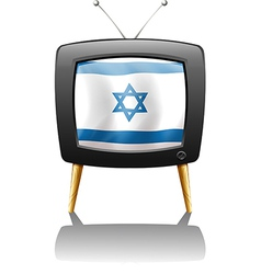 A TV with the flag of Israel vector image vector image