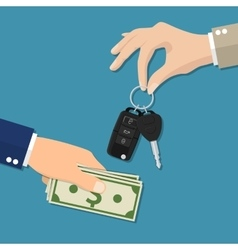 Car salesman giving key to new owner vector