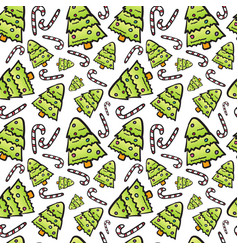 christmas tree seamless pattern winter holiday vector image