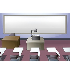 Classroom with projector and desks vector image vector image