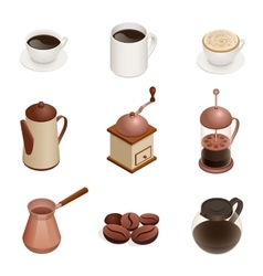 Coffee Icons with White Background Graphic vector image vector image