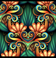 Colored seamless pattern with floral ornament vector