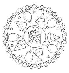 Coloring simple celebration mandala vector