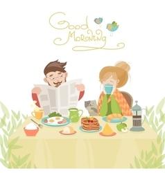 Couple in love having breakfast vector image