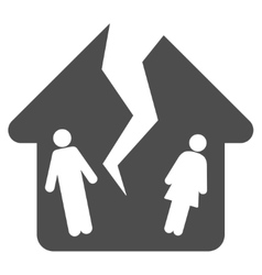 Divorce house flat icon vector